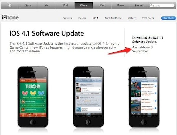 iOS 4.1 Software Update Downloadable from September 8th on Apple's UK Website