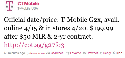 T-Mobile G2x 4G Smartphone Set To Launch On April 15th For $199.99 1