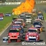 V8 Supercar explodes into flames at startline