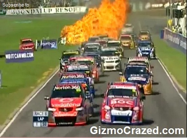 Australian V8 Supercar Explodes Into Flames On Startline