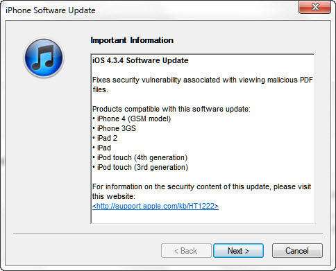Apple Releases iOS 4.3.4, Prevents Hacking & Jailbreaking
