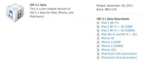 Apple Seeds First Beta Of iOS 5.1 To Developers