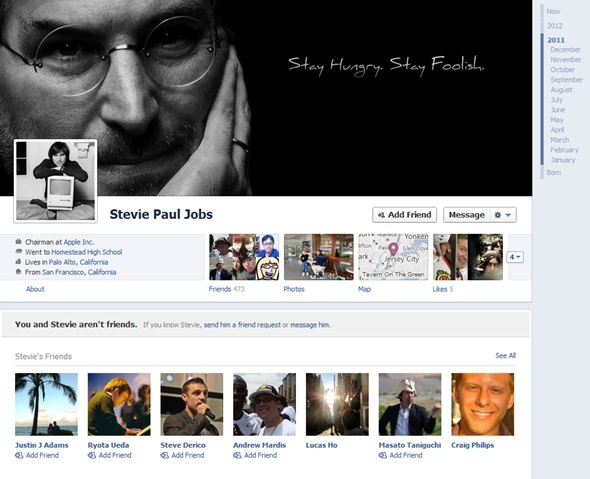 Facebook Takes Off Tribute Timeline Profile Of Steve Jobs
