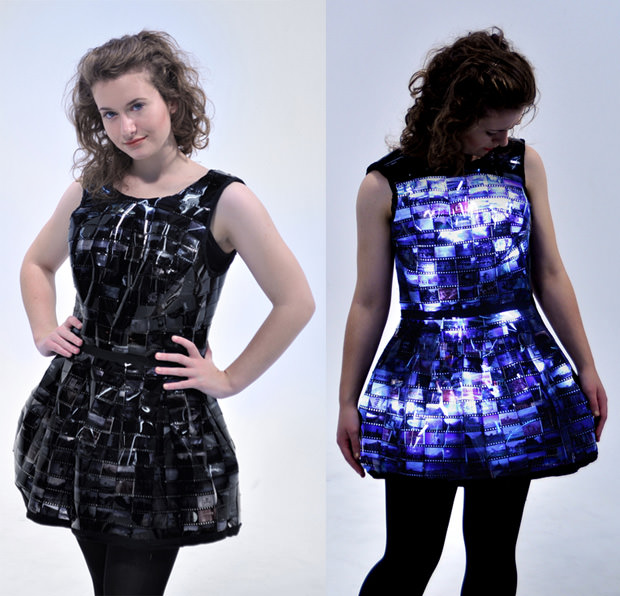 Dress Made With Film Strips And LEDs Is Pure Awesomeness