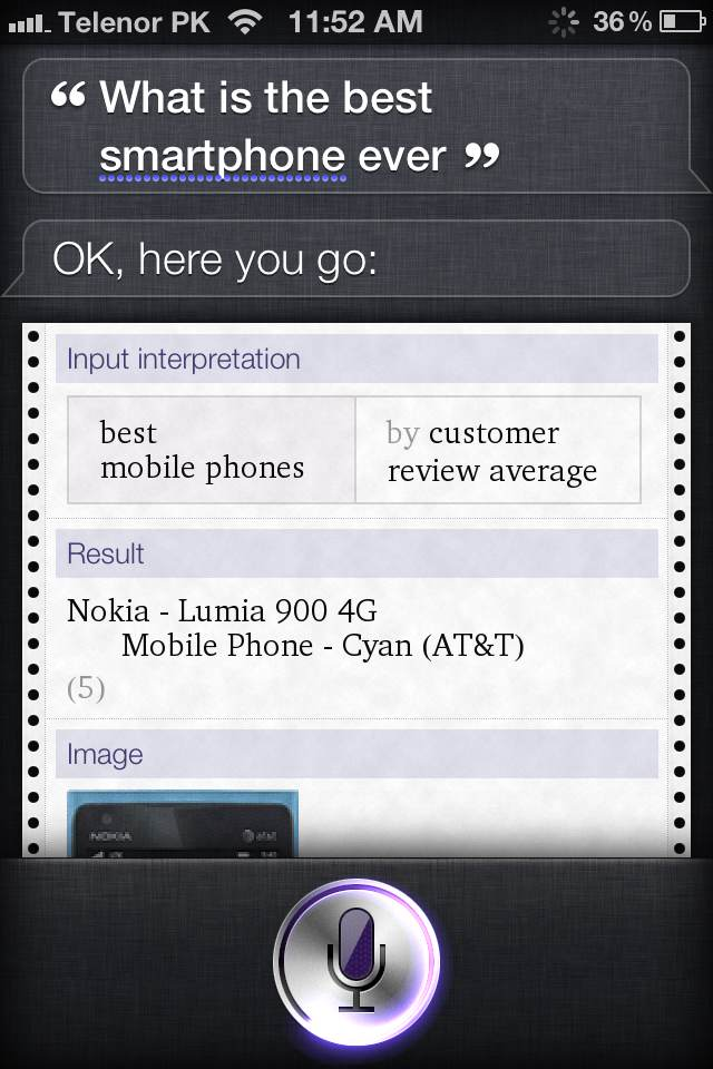 """Siri, What Is The Best Smartphone Ever?"" Siri:""Lumia 900"""