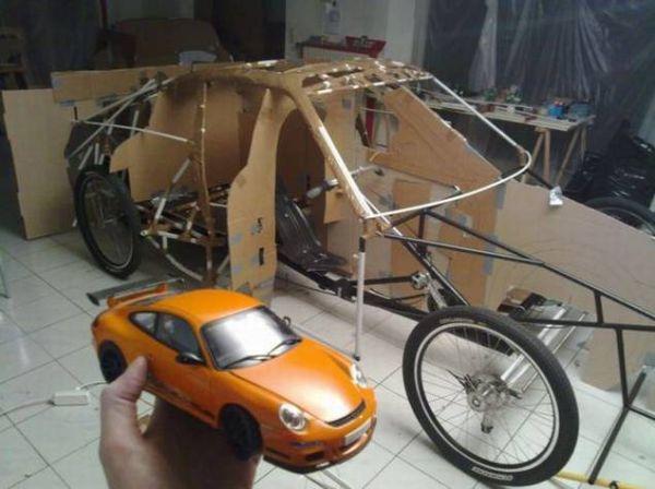 porsche bike car, Porsche, diy, Bicycle, porsche bike car, bicycle homemade, guy make porche bicycle, homemade e vehicle, top gear porsche bike, sports car