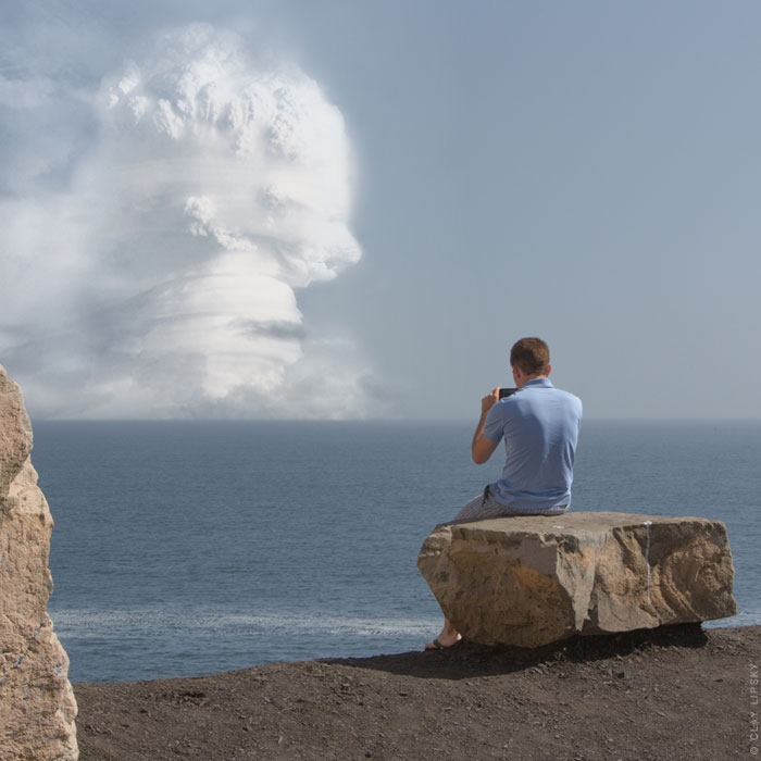 Atomic Overlook,Atomic Overlook,Atomic Overlook,Atomic Overlook,Atomic Overlook,Atomic Overlook, atom bomb, claylipsky, composite, explosions, imaginary, nuclear, photoshopped, inspiration, A-bomb, photography, Disaster, Nuclear Explosions, Tourists Overlooking Nuclear Explosions