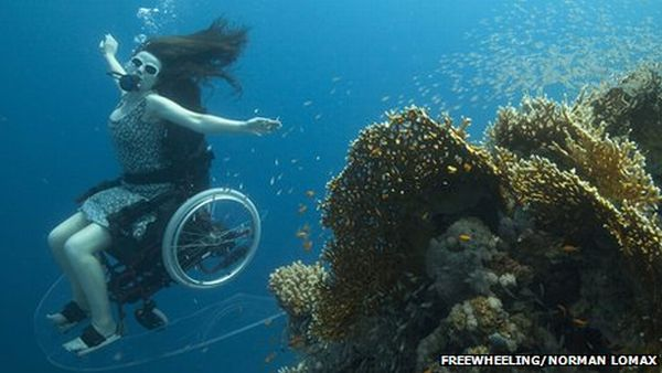 Underwater Wheelchair, First Underwater Wheelchair, World's First Underwater Wheelchair, Wheelchair underwater