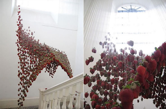 Amazing Sculptures, Amazing Sculptures moving Sculptures, moving Sculptures, Sculptures that are in motion, Sculptures that look they are in motion, Claire Morgan moving sculptures, amazing sculptures that look they are in motion, strawberry Sculptures