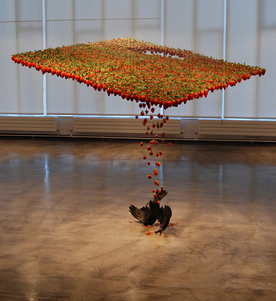 Amazing Sculptures, Amazing Sculptures moving Sculptures, moving Sculptures, Sculptures that are in motion, Sculptures that look they are in motion, Claire Morgan moving sculptures, amazing sculptures that look they are in motion, strawberry Sculptures