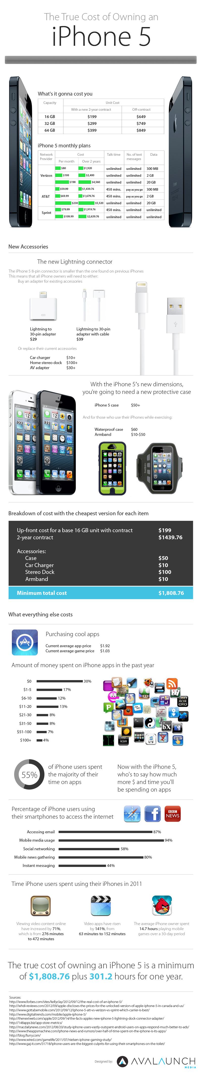 iPhone True Cost, infographic, iphone infographic, iphone 5 cost, iphone 5 cost plan, iphone 5 contract cost