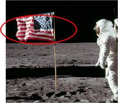 Waving Flag, moon landing, landing on moon