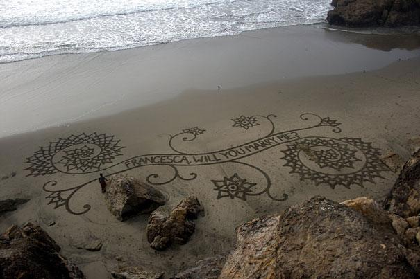 Marriage proposal using art, Beach art