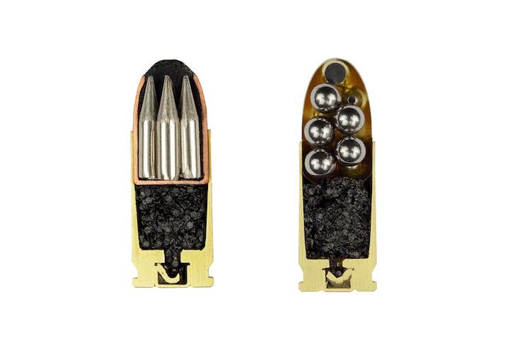 Ammo cross-section, Bullet cross-section, Cross-section of bullet, Bullets cut in half, half bullets