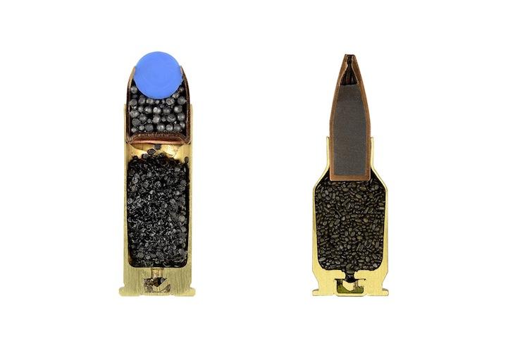 Bullet cross-section, Cross-section of bullet, Bullets cut in half, half bullets
