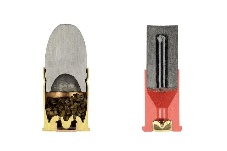 Bullets precisely split in half, Bullet cross-section, Cross-section of bullet, Bullets cut in half, half bullets