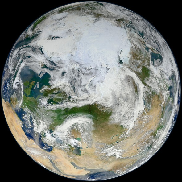 Earth, Synthesized View of Earth showing the Arctic, Europe and Asia