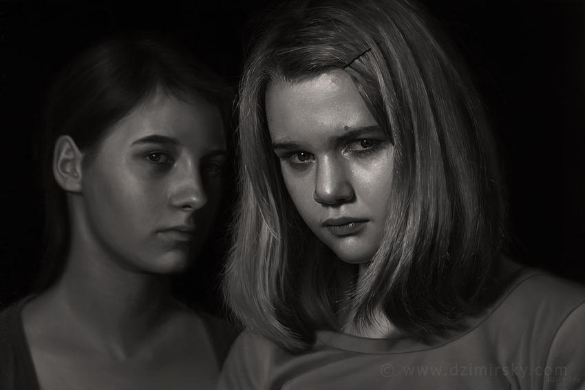 Sisters, Photorealistic Portraits, Photorealistic Portraits by DIRK DZIMIRSKY