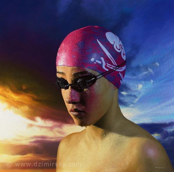 Swimmer Girl, Photorealistic Portraits, Photorealistic Portraits by DIRK DZIMIRSKY