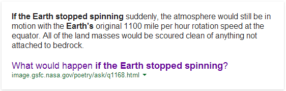 "Google's Answer to ""what if the earth stopped spinning"""