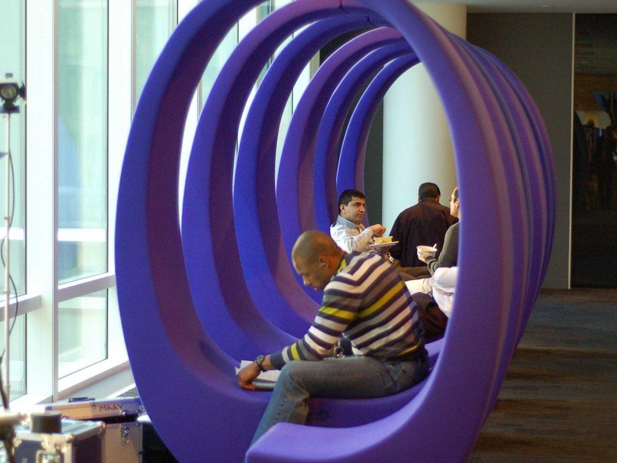 bloombergs office is sleek and fancy, Bloomberg purple loop.