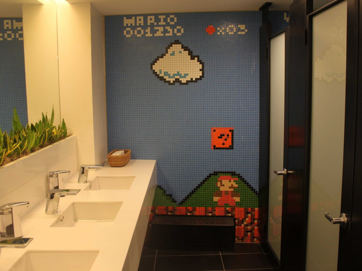 Stack Exchange has a Super Mario themed bathroom.