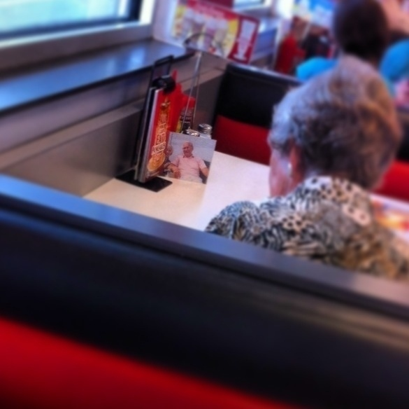 She has lunch with her husband everyday, even though he has passed on