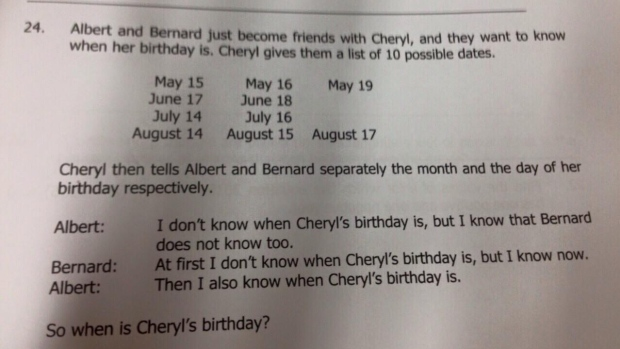 When Is Cheryl's Birthday? Singapore Math Question For Kids Goes Viral