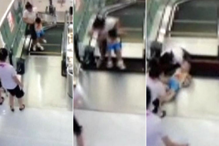 Chinese Woman Swallowed Alive By Escalator, But Saves Toddler Son