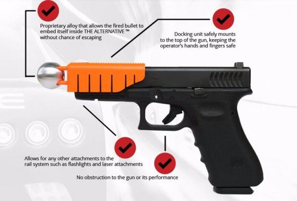 This Pistol Attachment Reduces Bullet Speed And Makes It Non-Lethal 1