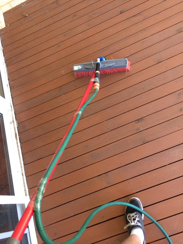 Cleaning the deck