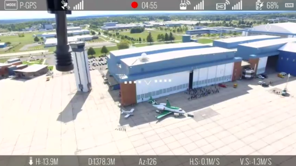 Here's the view from the multirotor drone taking part in the package delivery simulation. (Credit: Screenshot from livestream)