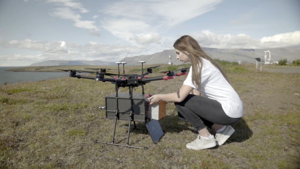 Flytrex delivery drones have already begun delivering customer orders for hot food and electronics from the online marketplace called AHA in Iceland. Credit: Flytrex