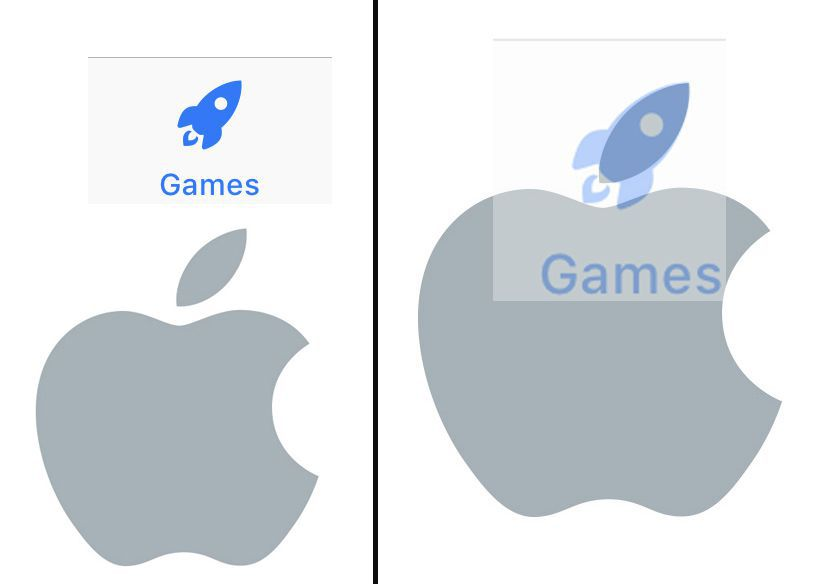 On the left are the Apple Logo and the new App Store Games Tab icon. At right, we overlaid the Games Tab rocket icon on top of the Apple logo leaf. The angle and shape are a perfect match.