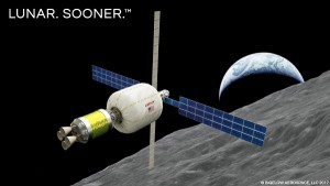Low-cost commercial approaches could finally make a lunar depot feasible. This is a new concept from ULA and Bigelow Aerospace. (Credit: Bigelow)