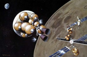 The idea of a lunar fuel depot has been around for a long time; this concept is from 1984. Can we make it work this time? (Credit: NASA/Marcus Lindroos)