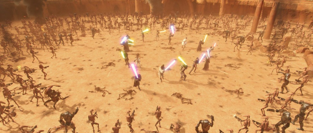 "A small circle of Jedi with lightsabers tries to fend off the huge army of battle droids closing in around them in ""Star Wars: Attack of the Clones."" Credit: Disney"