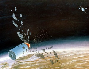 An artist's concept of a space-based anti-satellite weapon. (Credit: Department of Defense)
