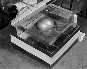 A replica of what the Demon Core would have looked like at the time of the accident. (Credit: Los Alamos National Laboratory/Wikimedia Commons)