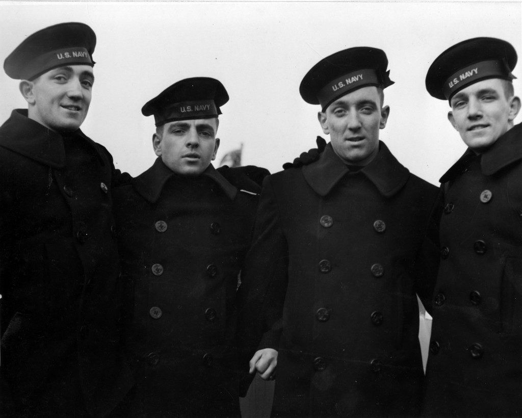 The four Rogers brothers at the commissioning ceremonies for the USS Juneau at the New York Navy Yard Feb. 14, 1942. They are Joseph, Patrick, Louis, and James. Left to right. Credit: U.S. Naval History and Heritage Command