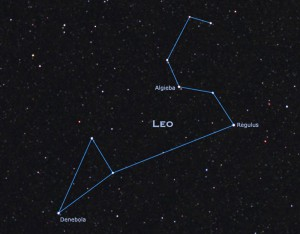 Regulus, the bright star in the constellation Leo, lies just on the outer boundary of Stephen Hawking's information bubble. (Credit: StarryNight)