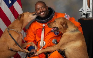 One way to share the feeling of being in space is by using familiar cues: sights, sounds, smells, dogs. (Credit: NASA)