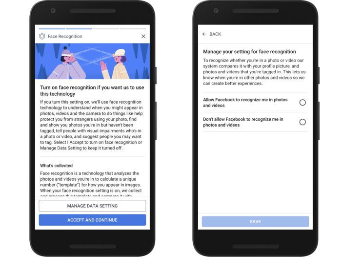 Facebook's new privacy controls and terms screens.