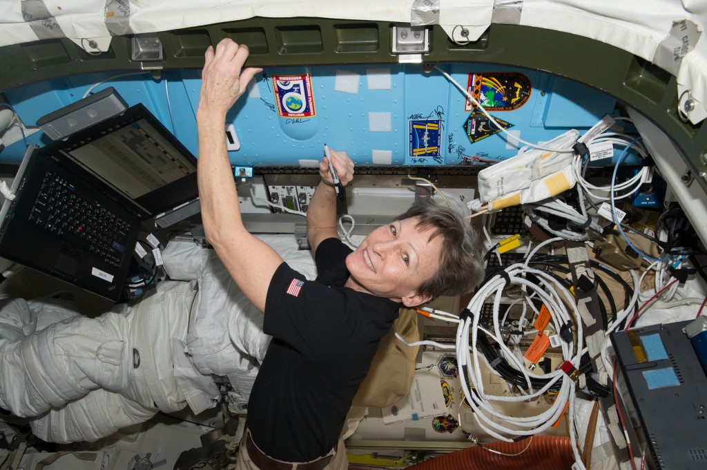 Whitson in her (former) native environment aboard the ISS on Expedition 50. (Credit: NASA)