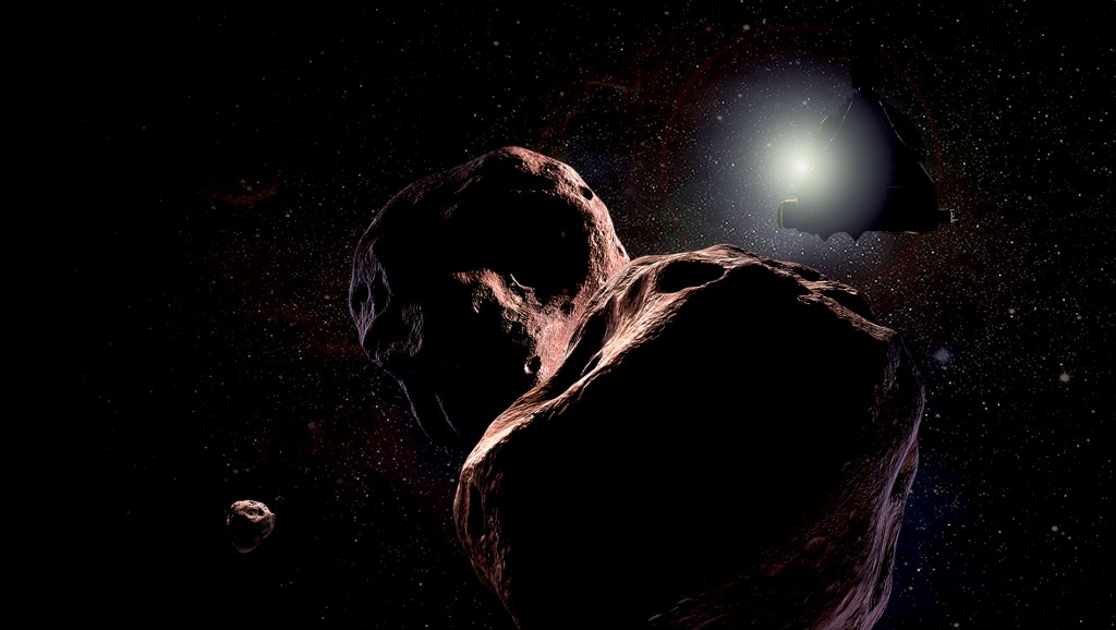 An artist's impression of what the Ultima Thule flyby may look like. The object appears to be binary or double-lobed. (Credit: NASA/JHU-APL/SWRI/Steve Gribben)