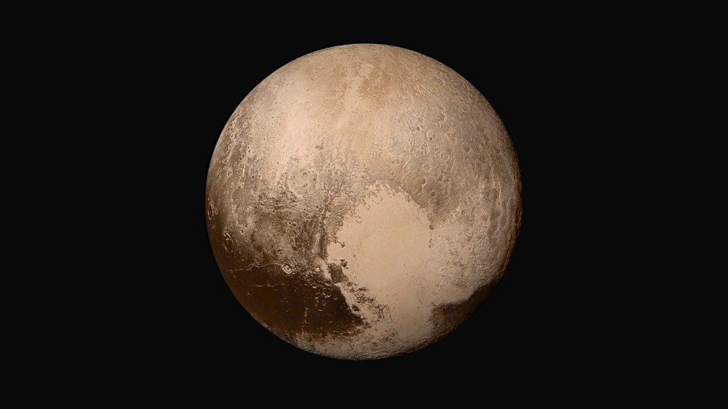 "The iconic image of Pluto and its giant ""heart""--an ancient impact filled with nitrogen ice, possibly with liquid water lurking below. (Credit: NASA/JHU-APL/SWRI)"