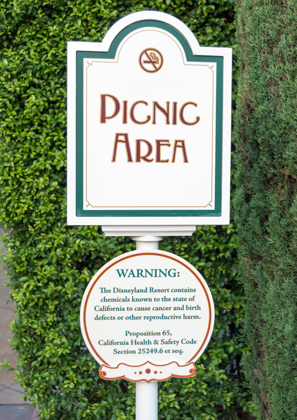 Proposition 65 warnings, like this one at Disneyland, have generally been very vague. New laws will require that the warnings name specific chemicals and their sources. CREDIT: PATRICK PELLETIER / WIKIMEDIA COMMONS
