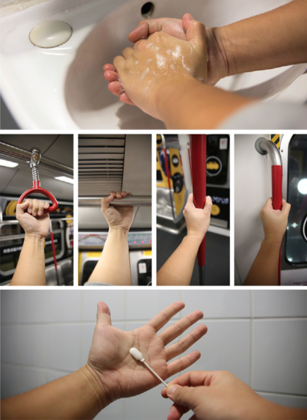 Hand-based microbe collecting experiment on the subway