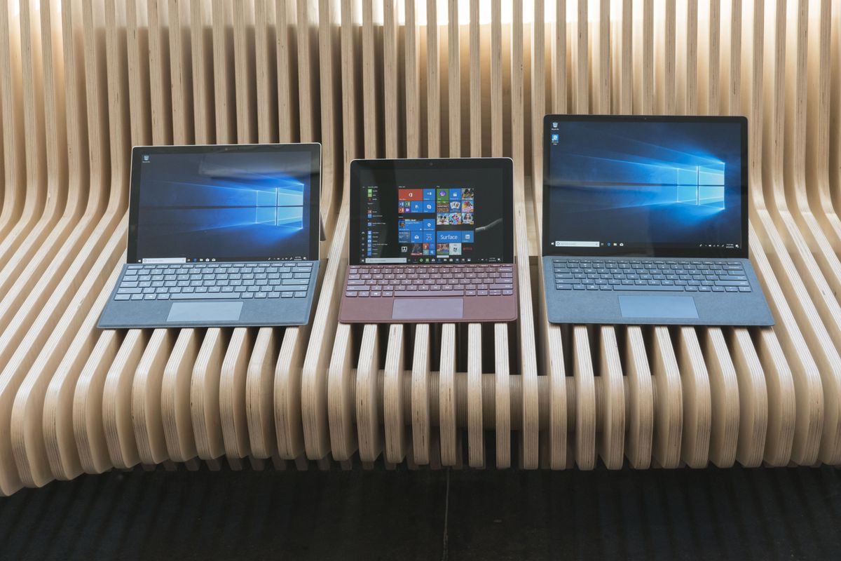 Look at how small the Surface Go (center) is compared to the Surface Pro (left) and Surface Laptop (right).