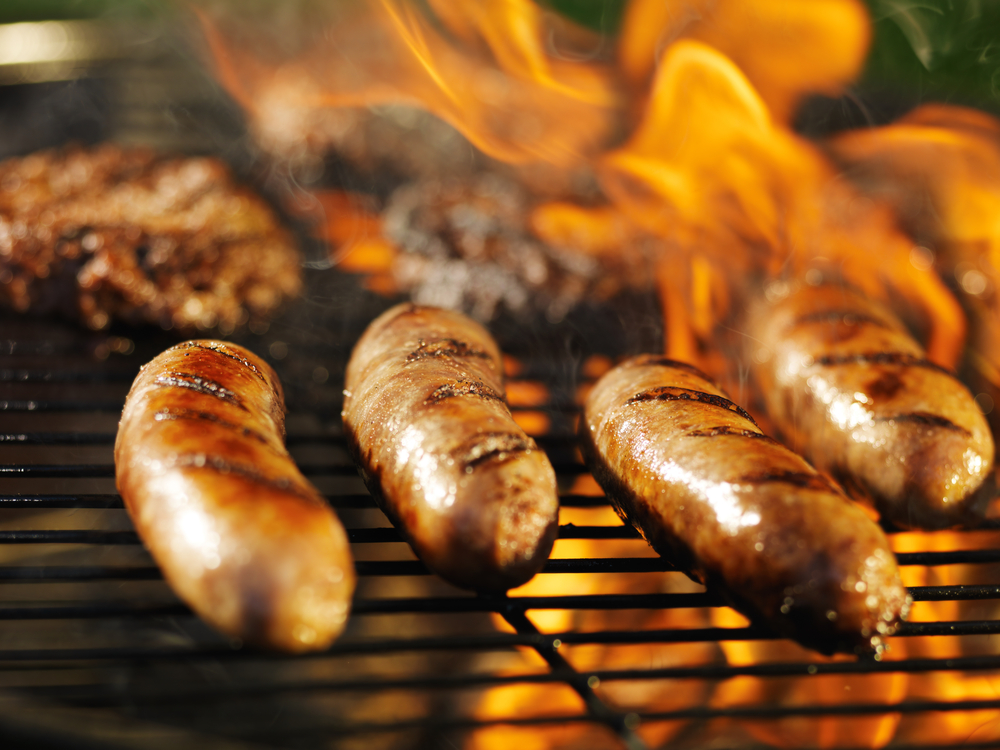 """Processed meats such as sausages were listed in 2015 by the International Agency for Research on Cancer as """"carcinogenic to humans,"""" based on population studies that reported slightly increased rates of colorectal cancer in people who consumed the meats. Some speculate that processed meats will soon be added to Proposition 65's list of chemicals. (Credit: Joshua Resnick/Shutterstock)"""
